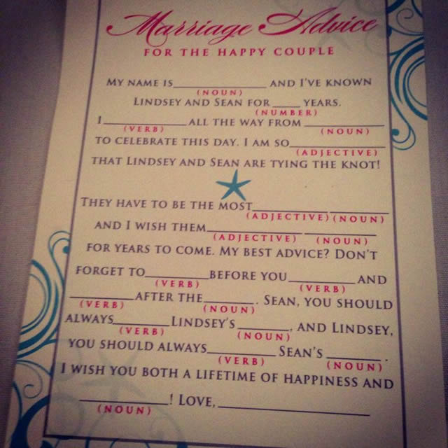 Wedding MadLibs!