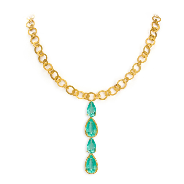 Gold Necklace with Emeralds
