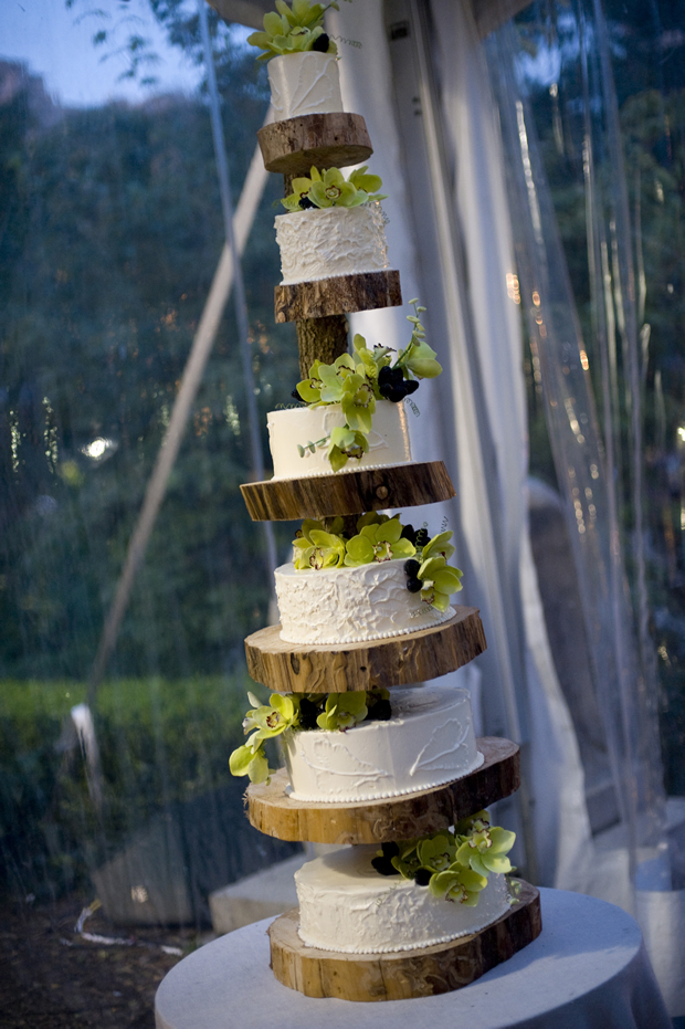 When an outdoorsy couple tied the knot at the Central Park Zoo in New York City, Sugar Flower Cake Shop created a massive, six-tier cake, and offered it up on slices from a tree.
